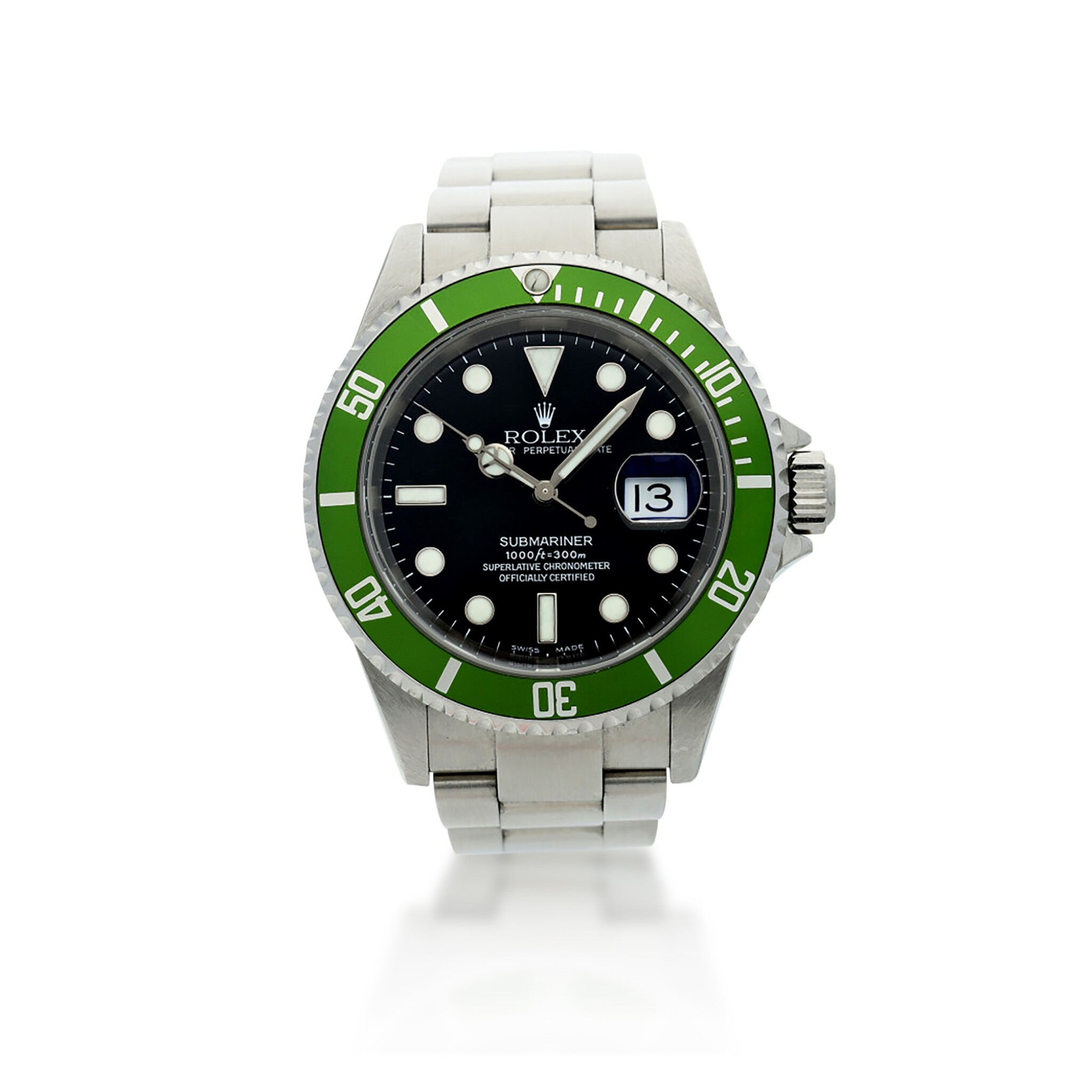 View full screen - View 1 of Lot 97. REFERENCE 16610LV SUBMARINER 'KERMIT' A STAINLESS STEEL AUTOMATIC WRISTWATCH WITH DATE AND BRACELET, CIRCA 2003.