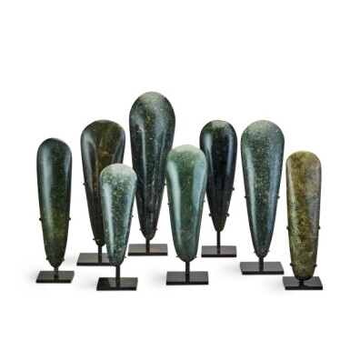View 1. Thumbnail of Lot 80. Papua New Guinea, Lake Sentani, late 19th/early 20th century | Eight Adze Ceremonial Blades (Obligation Stones).