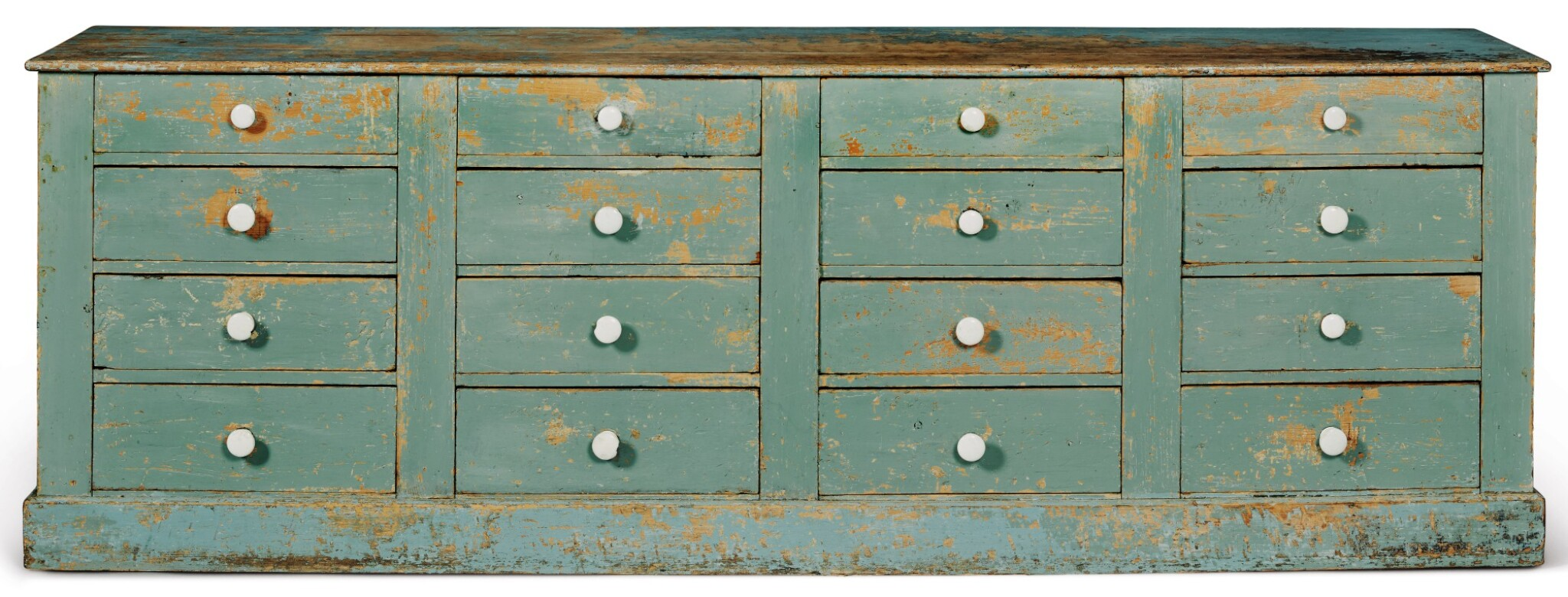 View full screen - View 1 of Lot 1474. BLUE-PAINTED PINE STORE COUNTER FITTED WITH SIXTEEN DRAWERS, PROBABLY VERMONT, CIRCA 1880.