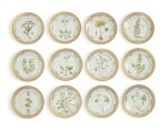 TWELVE ROYAL COPENHAGEN 'FLORA DANICA' BREAD AND BUTTER PLATES, MODERN