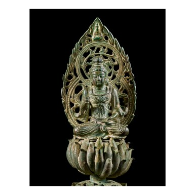 View 1. Thumbnail of Lot 584. A BRONZE FIGURE OF A SEATED BODHISATTVA,  FIVE DYNASTIES, WUYUE KINGDOM.