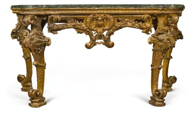 View 2. Thumbnail of Lot 17. AN ITALIAN CARVED GILTWOOD CONSOLE TABLE, GENOESE, CIRCA 1730/40.