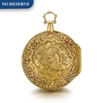 CABRIER, LONDON   [Cabrier,倫敦#]  |  A GOLD PAIR CASED QUARTER REPEATING REPOUSSÉ VERGE WATCH  CIRCA 1740   [黃金雙套殼二問懷錶備機軸式擒縱機芯,年份約1740]