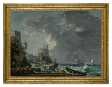 View 2. Thumbnail of Lot 605. A storm off a rocky coast, with a shipwreck in the foreground and a fort on the rocky shoreline above.