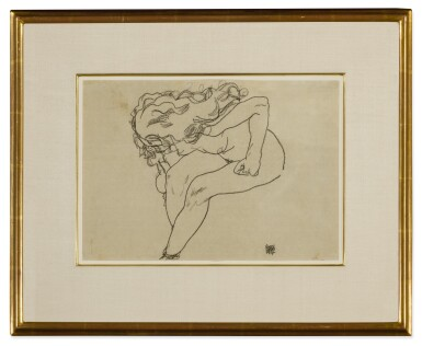 View 2. Thumbnail of Lot 119. Sich niederbeugender Mädchenakt mit aufgelöstem Haar (Bending Nude Girl with Loosened Hair).