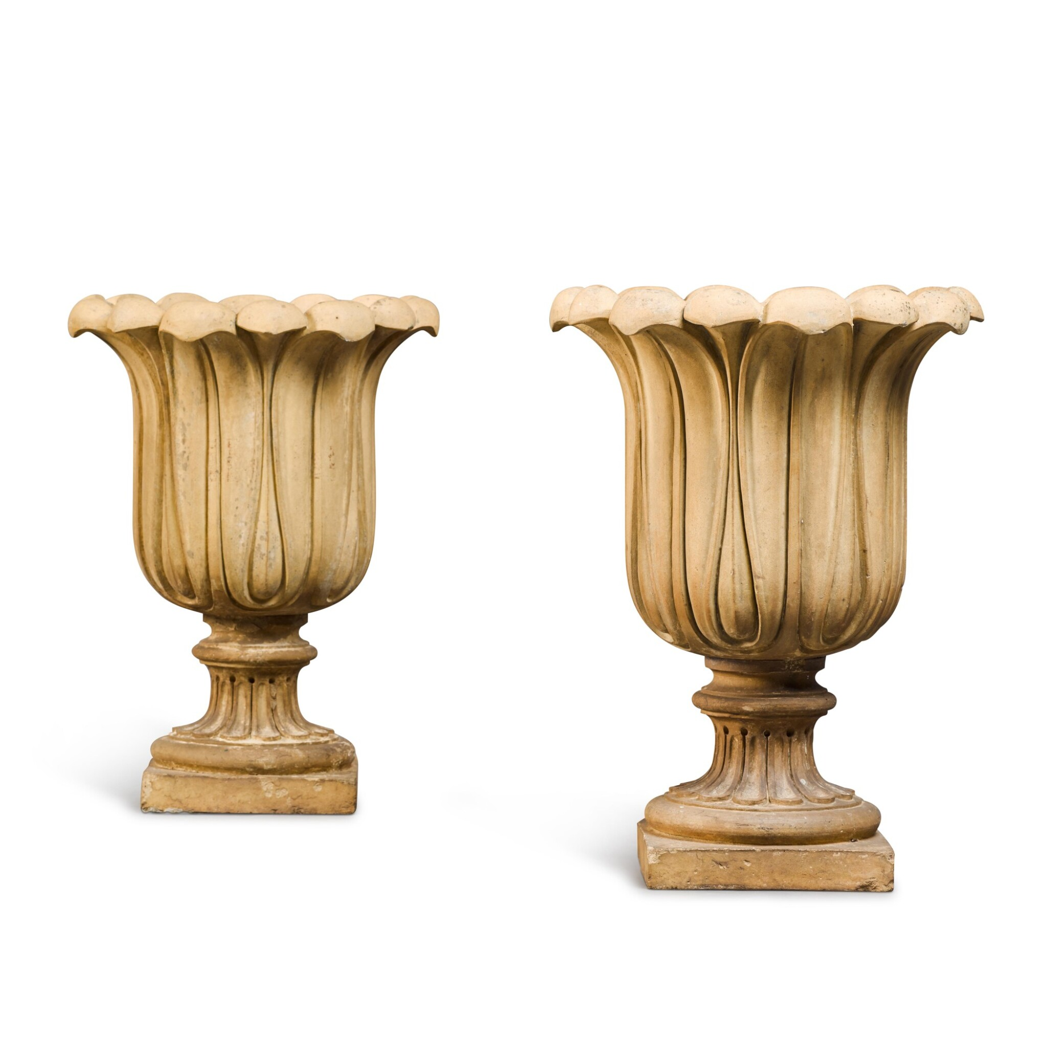 View full screen - View 1 of Lot 89. A PAIR OF BUFF TERRACOTTA GARDEN URNS, SECOND QUARTER 19TH CENTURY.