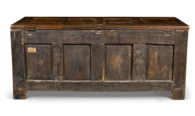 View 3. Thumbnail of Lot 21. An oak panelled chest, Low Countries, 16th century.