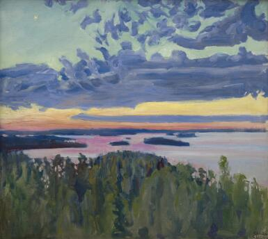 AKSELI GALLEN-KALLELA | View Over a Lake at Sunset