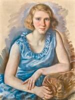 ZINAIDA EVGENIEVNA SEREBRIAKOVA | YOUNG WOMAN IN A BLUE DRESS