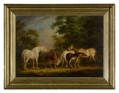 View 3. Thumbnail of Lot 121. Mares and foals in a clearing.