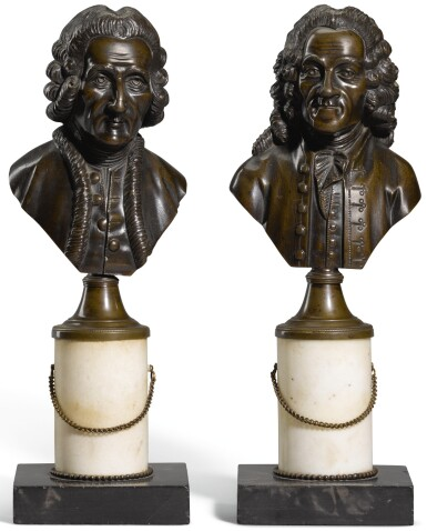 View 1. Thumbnail of Lot 98. French, 19th century, Busts of Voltaire and Rousseau.