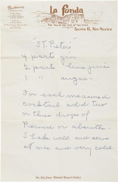 View 4. Thumbnail of Lot 57. GEORGIA O'KEEFFE | THE ARTIST'S RECIPE CARD FILE. CIRCA 1950S–1970S.