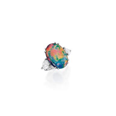View 1. Thumbnail of Lot 484. BLACK OPAL AND DIAMOND RING | 黑色蛋白石配鑽石戒指.