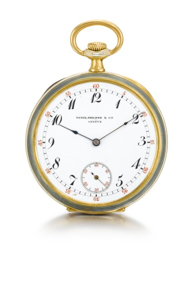 PATEK PHILIPPE & CIE | A FINE GOLD AND ENAMEL GENTLEMAN'S OPEN-FACED KEYLESS LEVER DRESS WATCH   1911, MOVEMENT NO. 165.472 CASE NO. 273534