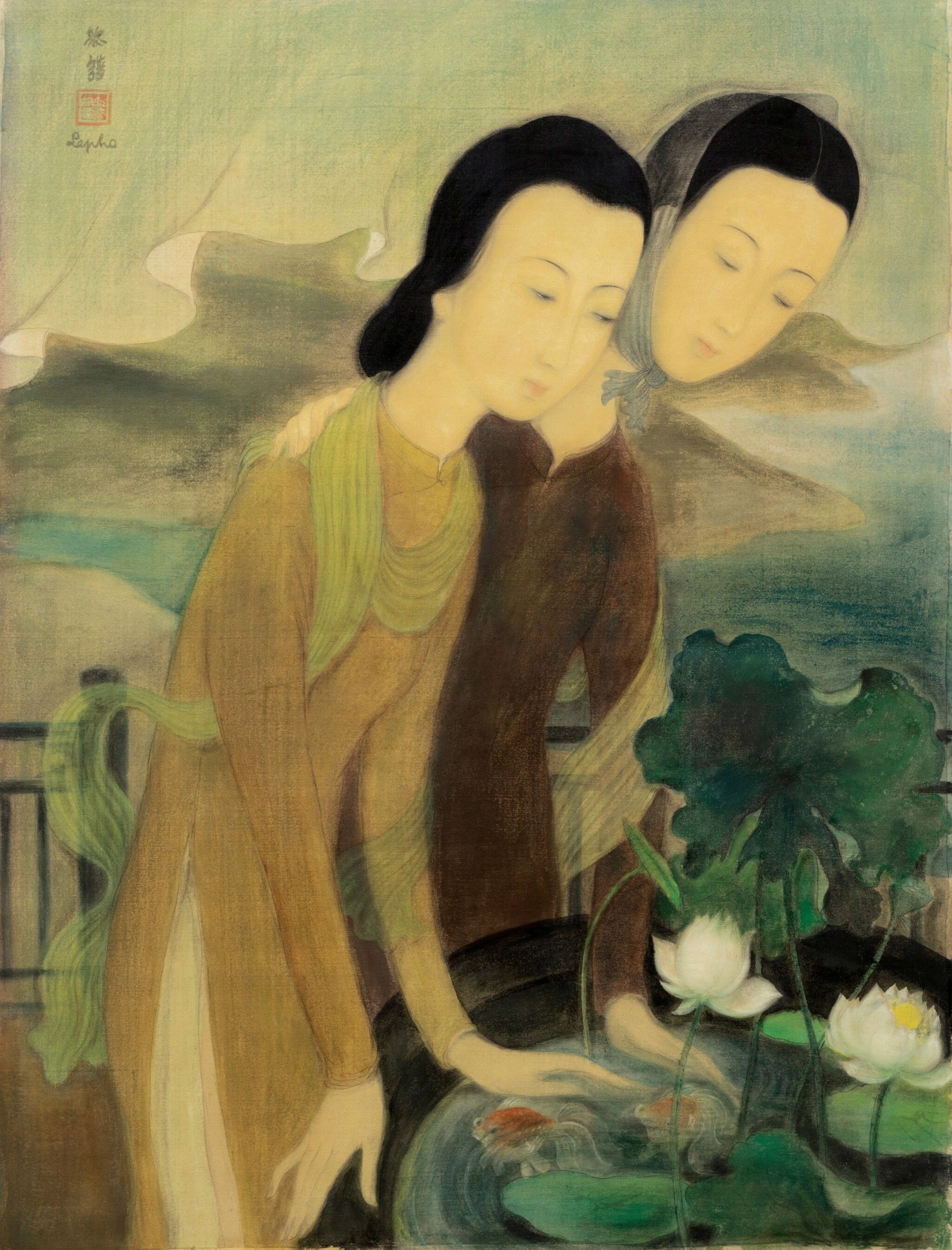 View full screen - View 1 of Lot 1014. Le Pho 黎譜 | Two Women Overlooking a Goldfiish Pond 俯瞰金魚池的兩位女子.
