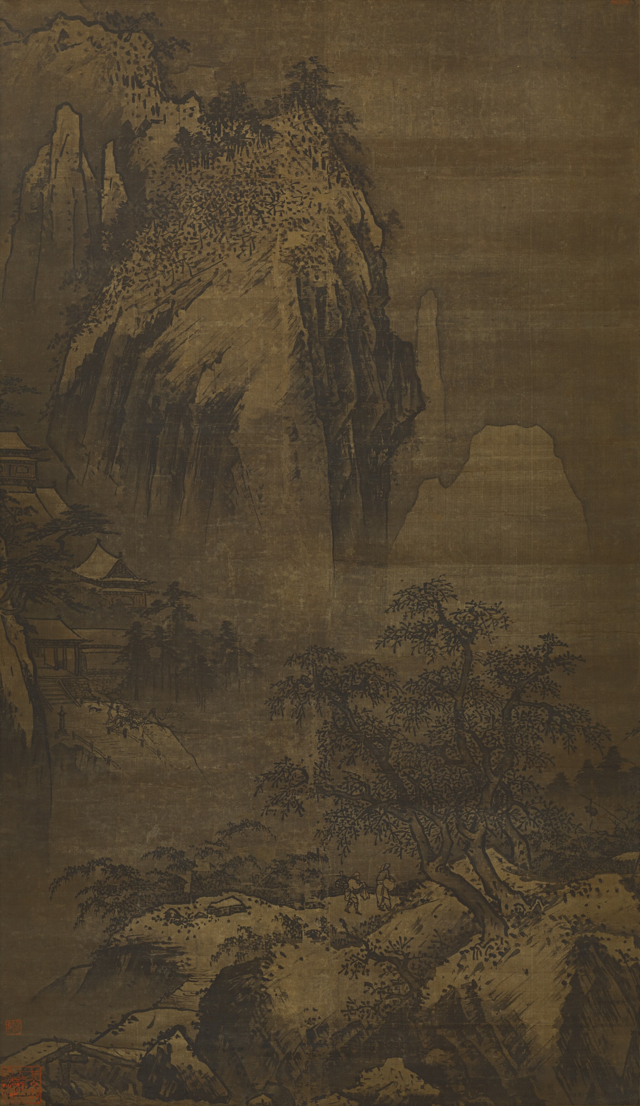 View full screen - View 1 of Lot 2541. ANONYMOUS (14TH CENTURY, ATTRIBUTED TO XIA GUI) 佚名 (十四世紀;前傳夏圭) | TEMPLE IN WINTER MOUNTAINS 雪峰古寺.