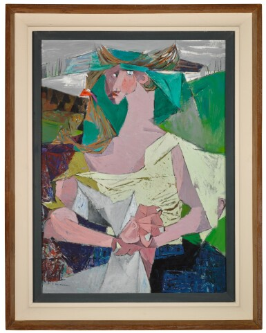 View 2. Thumbnail of Lot 31. LOUIS LE BROCQUY, H.R.H.A. | TRAVELLING WOMAN WITH NEWSPAPER.