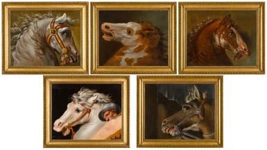 View 3. Thumbnail of Lot 49. AUGUSTE-JEAN-BAPTISTE VINCHON  |  FIVE STUDIES OF HORSES' HEADS, AFTER RAPHAEL'S FRESCOES IN THE STANZE VATICANE.