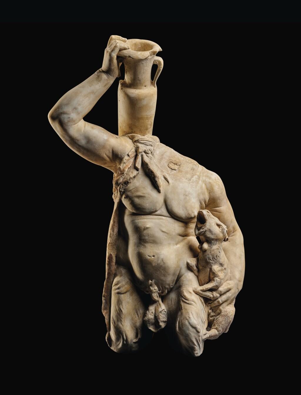 A ROMAN MARBLE FOUNTAIN FIGURE OF PAN, CIRCA 2ND CENTURY A.D.