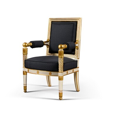View 2. Thumbnail of Lot 12. A set of four Empire white painted and parcel gilt fauteuils, by Jacob, early 19th century.