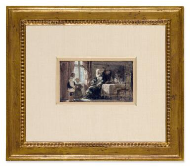 View 2. Thumbnail of Lot 41. The Remonstrance: An old woman admonishing two children.