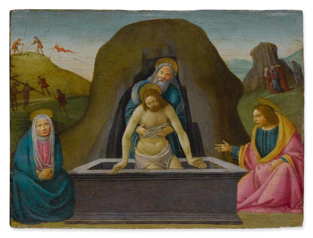 BARTOLOMEO DI GIOVANNI | PIETÀ WITH SAINT NICODEMUS, THE VIRGIN MARY AND SAINT JOHN THE EVANGELIST
