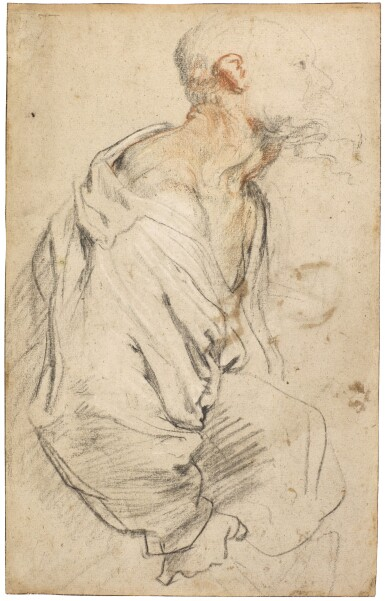 View 1. Thumbnail of Lot 23. Recto: An old bearded man holding a bundle beneath his arm; verso: Various composition studies.