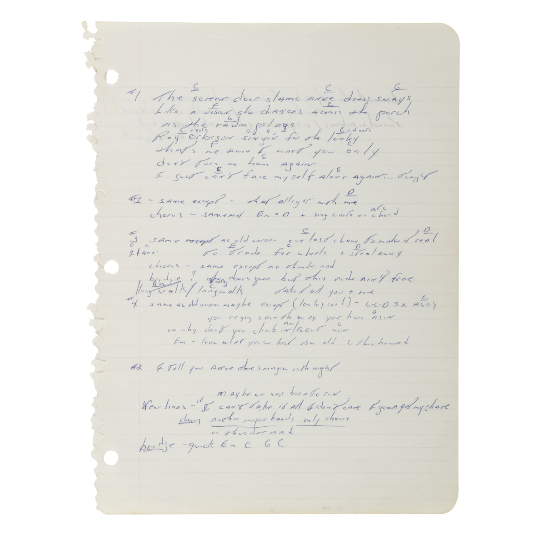 """View full screen - View 1 of Lot 238. SPRINGSTEEN, BRUCE 