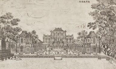 View 33. Thumbnail of Lot 362. A SET OF TWENTY PRINTS OF PALACES, PAVILIONS AND GARDENS AT YUANMING YUAN | 巴黎、1977年 《郎世寧圓明園西洋樓》 一組二十幅 水墨紙本.