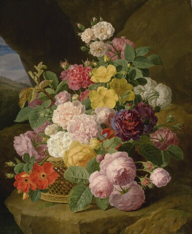 Jan Frans van Dael | A STILL LIFE OF ROSES, PEONIES, AND OTHER FLOWERS ON A LEDGE