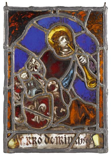 View 1. Thumbnail of Lot 27.  SOUTHERN GERMAN, CIRCA 1560 | ARMORIAL PANEL WITH A TRUMPETER.