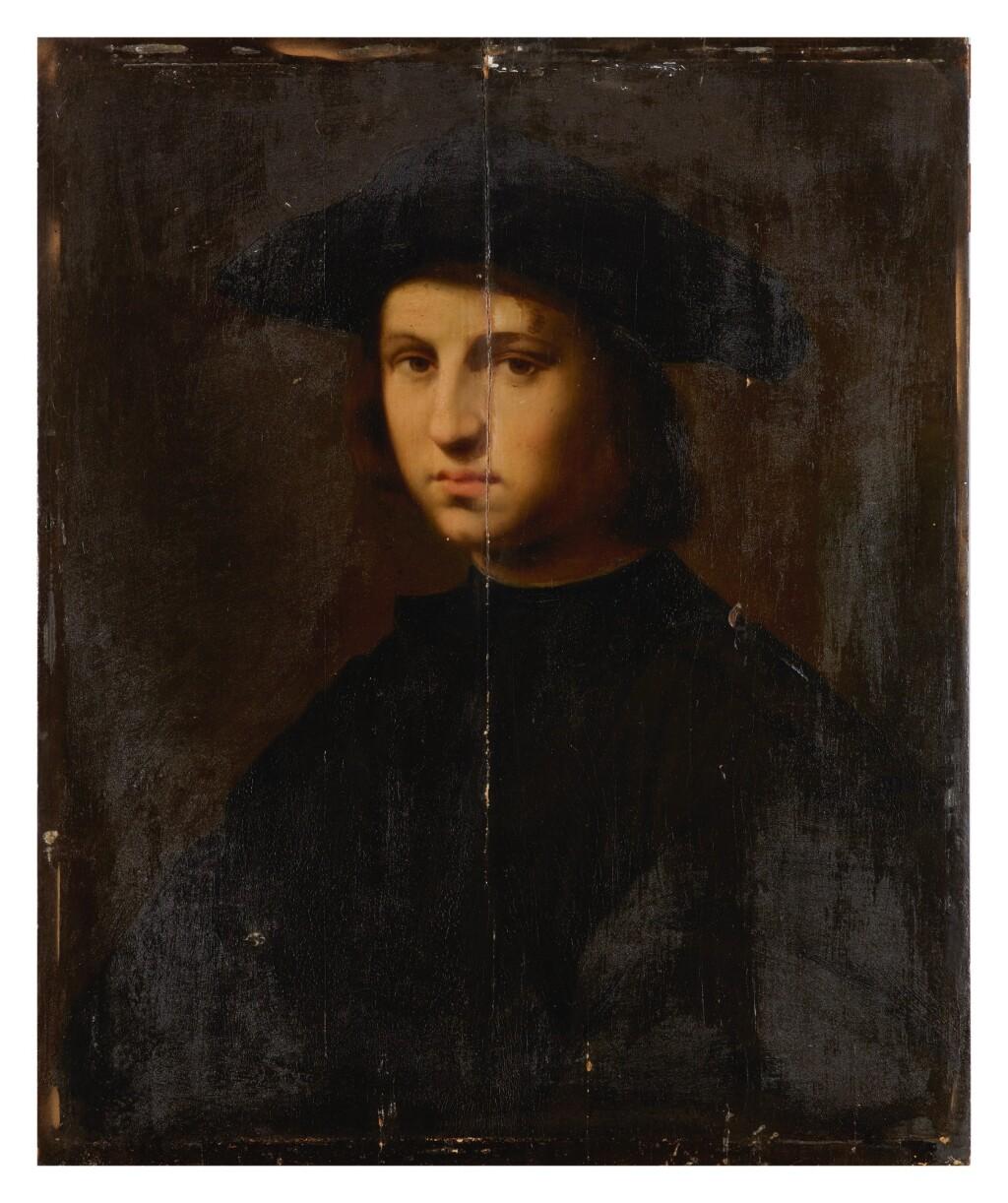 17TH CENTURY FOLLOWER OF DOMENICO PULIGO   PORTRAIT OF A YOUNG MAN IN BLACK