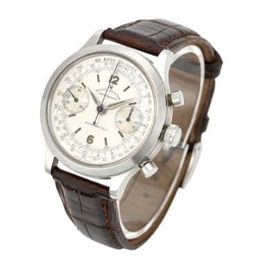 View 2. Thumbnail of Lot 393. 'MONOBLOCCO', REF 3525 STAINLESS STEEL CHRONOGRAPH WRISTWATCH CIRCA 1945.