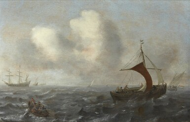 View 1. Thumbnail of Lot 238. CIRCLE OF JAN PORCELLIS | FISHING VESSELS IN CHOPPY WATERS.