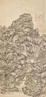 Wang Yuanqi 1642 - 1715 王原祁 1642-1715   Landscape after Wang Meng 仿王蒙山水
