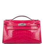 Hermès Rose Extreme Mini Kelly Pochette of Shiny Mississippiensis Alligator Palladium Hardware