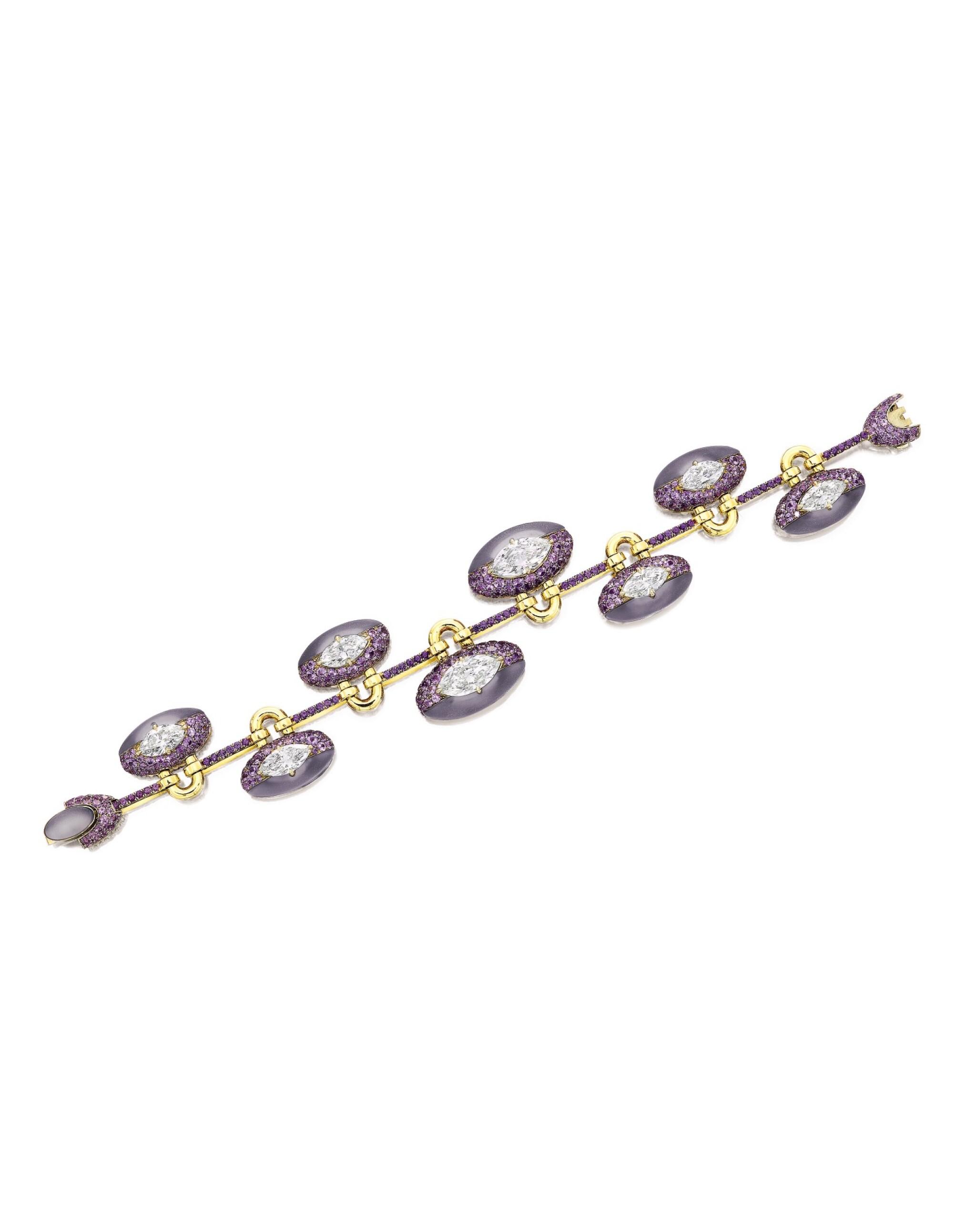 View full screen - View 1 of Lot 1654. Sotheby's Diamonds by Joseph Ramsay   'Padlock' Diamond, Chalcedony and Purple Sapphire Bracelet   「蘇富比鑽石」Joseph Ramsay設計  「同心扣」鑽石 配 玉髓 及 紫色剛玉 手鏈 (  八顆鑽石共重10.13克拉 ).