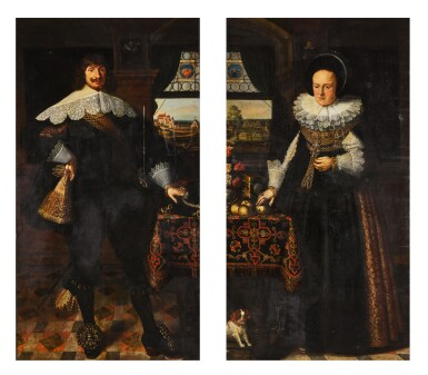 View 1. Thumbnail of Lot 139. Portrait of Johann Jobst Schmidtmaier von Schwarzenbruck (1611-47); Portrait of his wife, Anna Maria (1605-64), both standing, full-length, in interiors with landscapes visible through windows beyond.