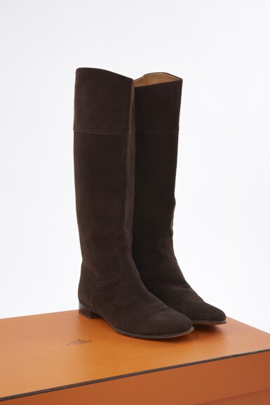 Brown suede boots, Hermès