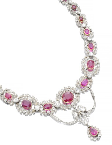 View 2. Thumbnail of Lot 159. RUBY AND DIAMOND NECKLACE, CIRCA 1910.