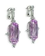 PAIR OF KUNZITE AND DIAMOND EARRINGS   紫鋰輝石 配 鑽石 吊耳環一對