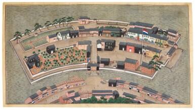 ATTRIBUTED TO KAWAHARA KEIGA (1786–1860) STUDIO, DESHIMA ISLAND, EDO PERIOD, EARLY 19TH CENTURY