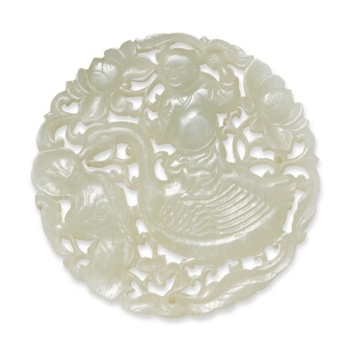 View 2. Thumbnail of Lot 155. A reticulated pale celadon jade 'boy and goose' plaque, Qing dynasty.