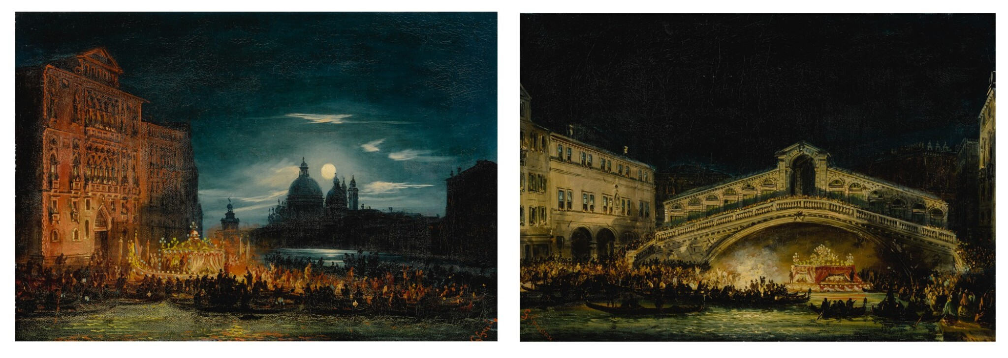View full screen - View 1 of Lot 667. A pair of nocturnal Venetian scenes on the Feast of the Redentore.