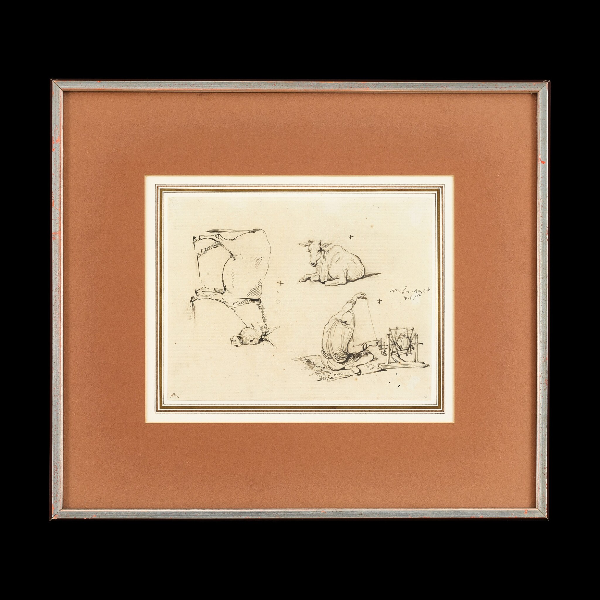 View full screen - View 1 of Lot 200. George Chinnery (1774-1852) Two Sketches of Indian Woman Spinning | 錢納利(1774-1852年)    素描印度婦女紡紗圖一組兩幅    紙本鋼筆及墨水 鏡框.
