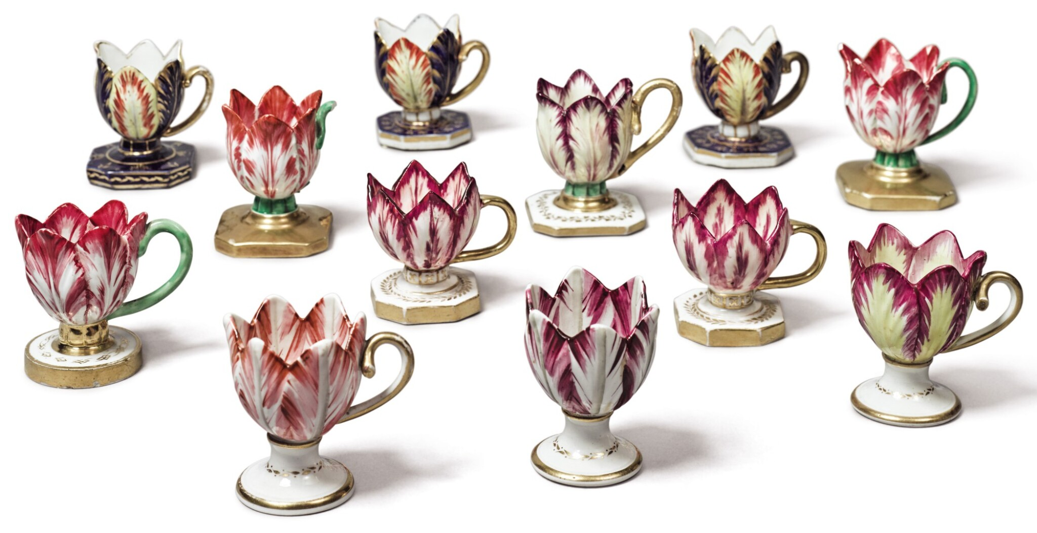 View full screen - View 1 of Lot 137. A GROUP OF TWELVE ENGLISH PORCELAIN TULIP ICE-CUPS, CIRCA 1820-30.