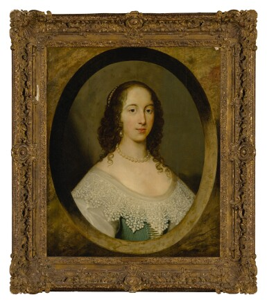 View 2. Thumbnail of Lot 632. Portrait of a lady, bust length, in a painted oval.
