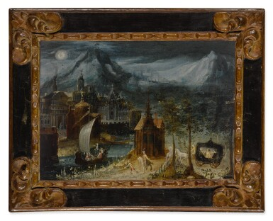 View 2. Thumbnail of Lot 619. River landscape with an elegant company in the foreground.
