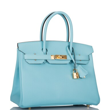 View 2. Thumbnail of Lot 18. Hermès Bleu Atoll Birkin 30cm of Epsom Leather with Gold Hardware .