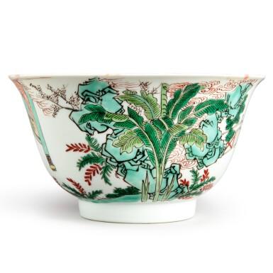 View 3. Thumbnail of Lot 144. A famille-verte 'figural' bowl, Qing dynasty, Kangxi period   清康熙 五彩人物故事圖盌  《大明成化年製》仿款.